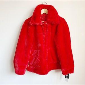 extra soft faux fur red fluffy jacket size medium